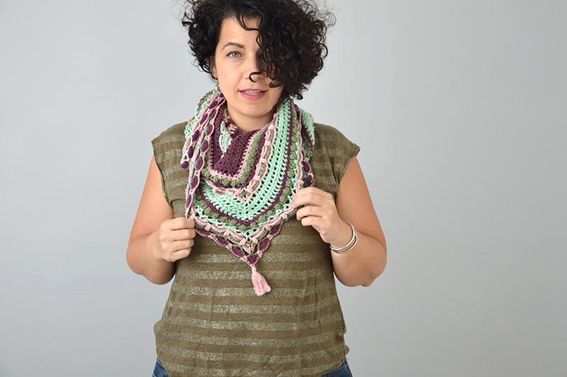 châle crochet couleur vintage