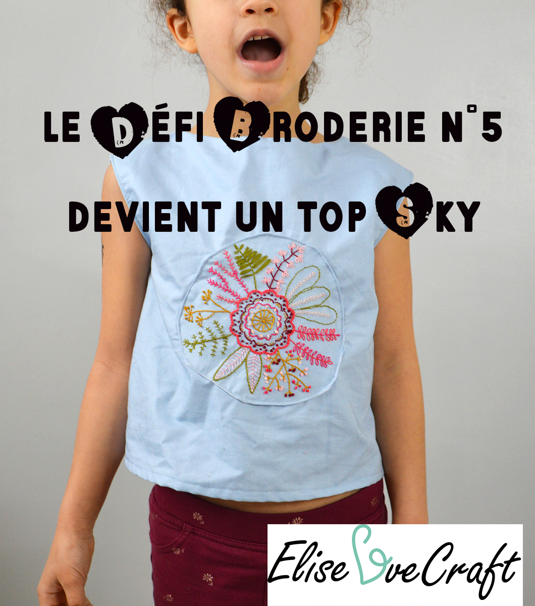 défi broderie n°5 top enfant pin it