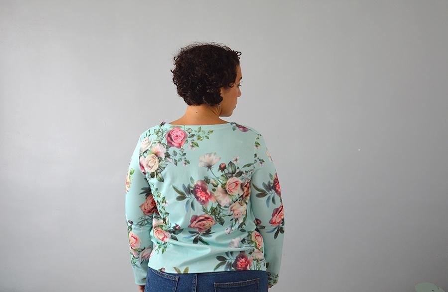 tissu scuba mint à fleurs